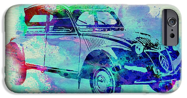 Vintage Car iPhone Cases - Citroen 2CV iPhone Case by Naxart Studio