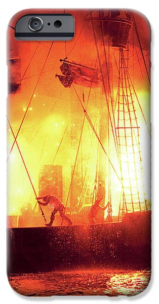 City - Vegas - Treasure Island - Explosion Abandon ship iPhone Case by Mike Savad