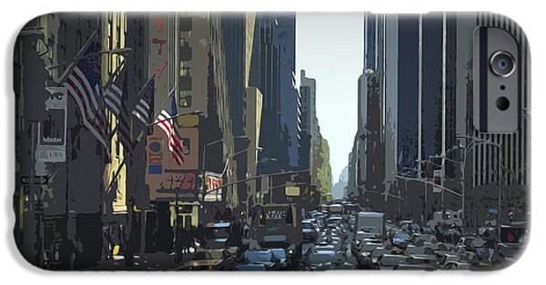 Skyscraper Mixed Media iPhone Cases - City-Art 6th Avenue NY  iPhone Case by Melanie Viola