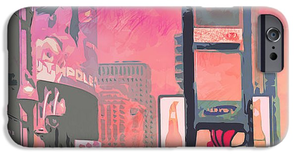 Facade Digital iPhone Cases - City-Art NY Times Square iPhone Case by Melanie Viola