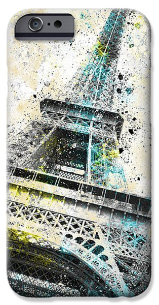 Abstract Digital Art iPhone Cases - City-Art PARIS Eiffel Tower IV iPhone Case by Melanie Viola