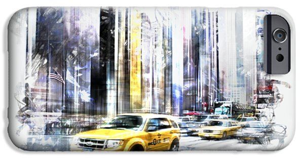 Abstract Digital Art iPhone Cases - City-Art TIMES SQUARE II iPhone Case by Melanie Viola