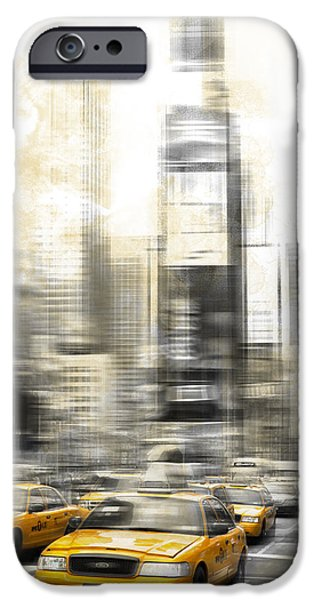 Abstract Digital Photographs iPhone Cases - City-Art TIMES SQUARE iPhone Case by Melanie Viola