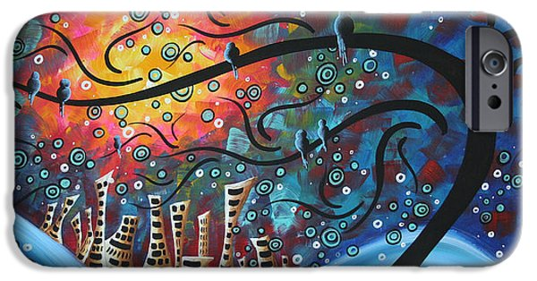 Whimsy Paintings iPhone Cases - City by the Sea by MADART iPhone Case by Megan Duncanson