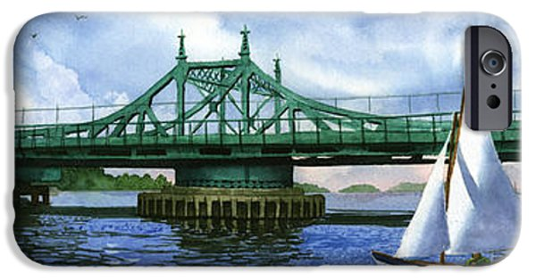 Sailboat iPhone Cases - City Island Bridge Summer iPhone Case by Marguerite Chadwick-Juner