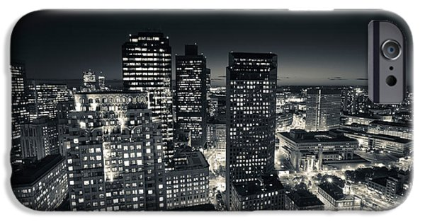 Custom House Tower iPhone Cases - City Lit Up At Dusk, Custom House iPhone Case by Panoramic Images