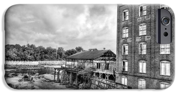 Grist Mill iPhone Cases - City Mills Black and White iPhone Case by JC Findley