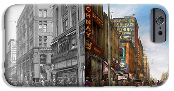 Franklin iPhone Cases - City - Missouri - Commerce from the past 1906 - Side by Side iPhone Case by Mike Savad