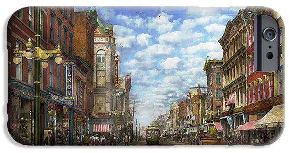City. Boston iPhone Cases - City - NY - Main Street - Poughkeepsie NY - 1906 iPhone Case by Mike Savad