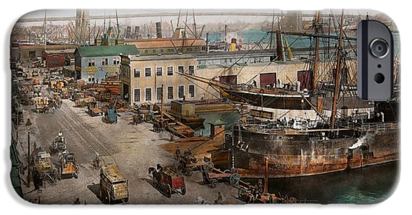 Boat iPhone Cases - City - NY - South Street Seaport - 1901 iPhone Case by Mike Savad