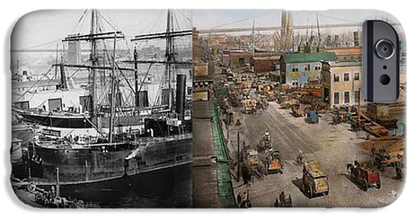 Tall Ship iPhone Cases - City - NY - South Street Seaport - 1901 - Side by side iPhone Case by Mike Savad