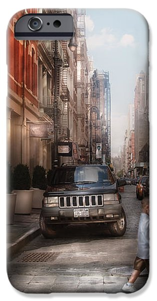 City - NY - Walking down Mercer Street iPhone Case by Mike Savad