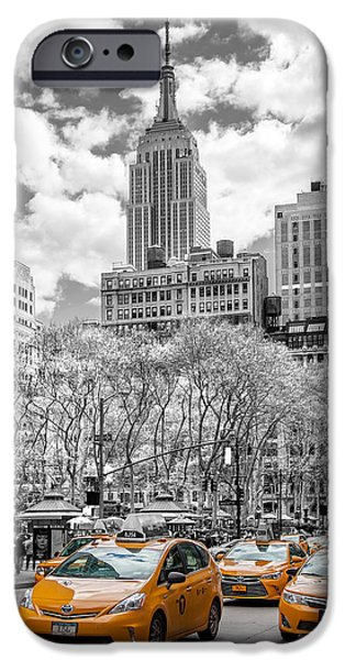 Empire State iPhone Cases - City Of Cabs iPhone Case by Az Jackson