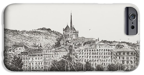 Switzerland Drawings iPhone Cases - City of Geneva iPhone Case by Vincent Alexander Booth