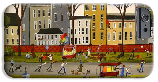Balloon Vendor iPhone Cases - City Park iPhone Case by Debbie Criswell