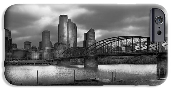 Antiques iPhone Cases - City - Pittsburgh PA - Smithfield Bridge BW iPhone Case by Mike Savad
