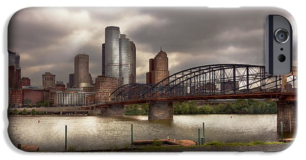 Antiques iPhone Cases - City - Pittsburgh PA - Smithfield Bridge  iPhone Case by Mike Savad