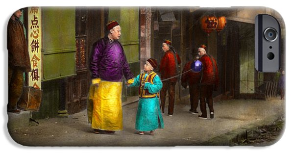 Bonding iPhone Cases - City - San Francisco - Chinatown - Visiting the commoners 1896-06 iPhone Case by Mike Savad