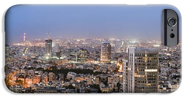 Beach At Night iPhone Cases - City Skyline At Night iPhone Case by Noam Armonn