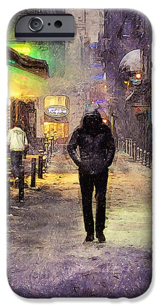 Night Lamp iPhone Cases - City Snow Walk iPhone Case by Ian Mitchell
