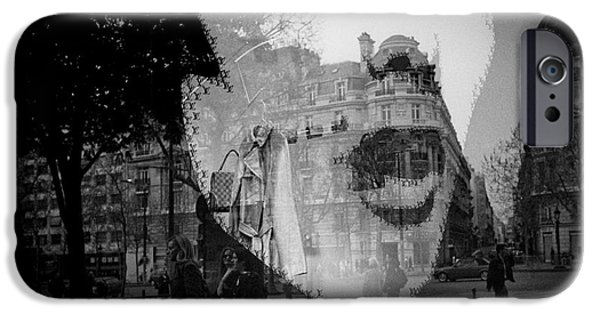 Monotone Pyrography iPhone Cases - City stare. iPhone Case by Cyril Jayant