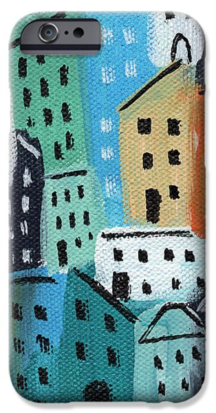 Window Cover iPhone Cases - City Stories- Blue and Orange iPhone Case by Linda Woods
