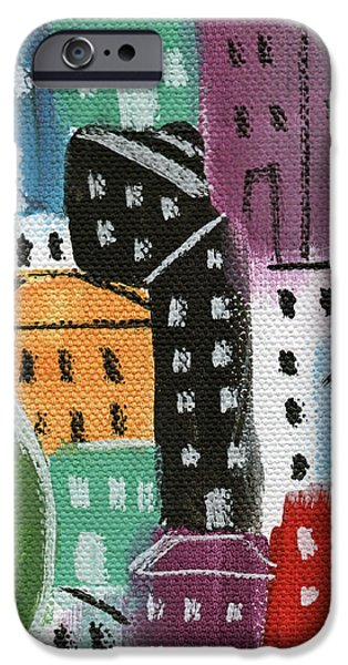 Building iPhone Cases - City Stories- By The Park iPhone Case by Linda Woods