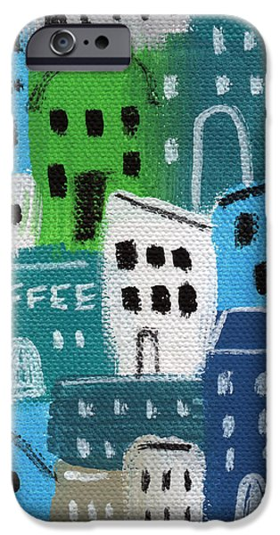 City Mixed Media iPhone Cases - City Stories- Coffee Shop iPhone Case by Linda Woods