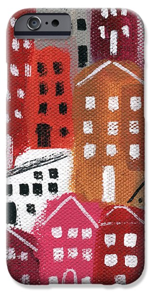 Downtown Mixed Media iPhone Cases - City Stories- Ruby Road iPhone Case by Linda Woods