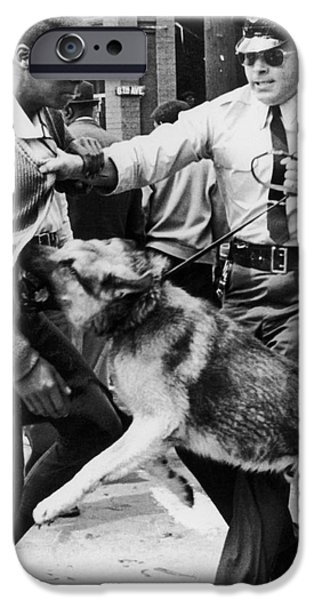 Police Dog iPhone Cases - Civil Rights, 1963 iPhone Case by Granger