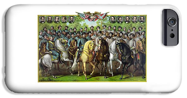 President iPhone Cases - Civil War Generals and Statesman iPhone Case by War Is Hell Store