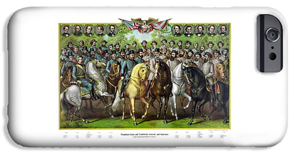 War Drawings iPhone Cases - Civil War Generals and Statesman With Names iPhone Case by War Is Hell Store