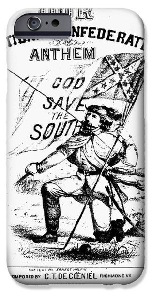 Confederate Flag iPhone Cases - CIVIL WAR: SONGSHEET, c1861 iPhone Case by Granger