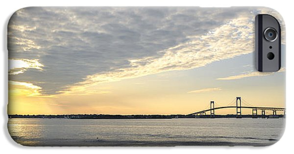 Bay Bridge iPhone Cases - Claiborne Pell Newport Bridge sunset seen from Goat Island iPhone Case by Marianne Campolongo