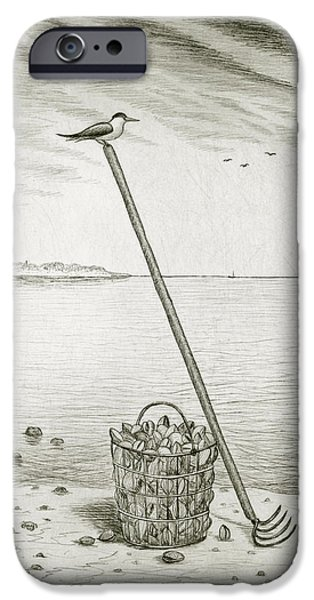 Basket Mixed Media iPhone Cases - Clamming iPhone Case by Charles Harden