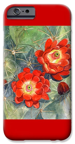 Marilyn Smith Paintings iPhone Cases - Claret Cup Cactus iPhone Case by Marilyn Smith