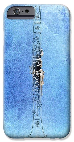 Balck Art iPhone Cases - Clarinet 21 Jazz B iPhone Case by Pablo Franchi