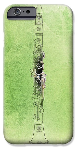 Balck Art iPhone Cases - Clarinet 21 Jazz G iPhone Case by Pablo Franchi