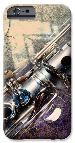 Wall Greeting Cards Digital iPhone Cases - Clarinet Music Instrument against a Cross 3520.02 iPhone Case by M K  Miller