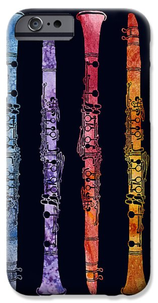Clarinet Rainbow iPhone Case by Jenny Armitage