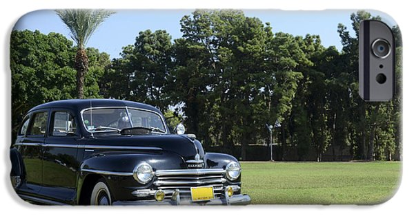 1949 Plymouth iPhone Cases - classic 40s black Plymouth  iPhone Case by Amir Paz