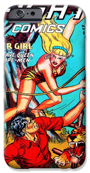 The Tiger iPhone Cases - Classic Comic Book Cover Fight Comics Tiger Girl 77 iPhone Case by Wingsdomain Art and Photography
