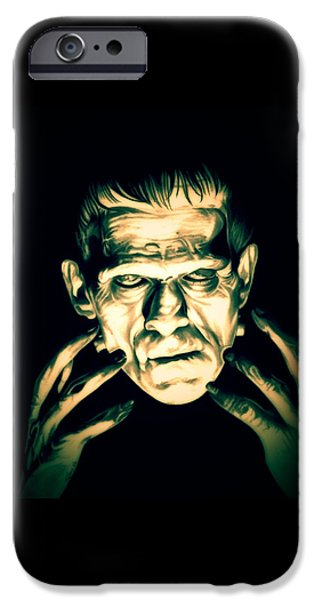 Electricity Drawings iPhone Cases - Classic Frankenstein iPhone Case by Fred Larucci