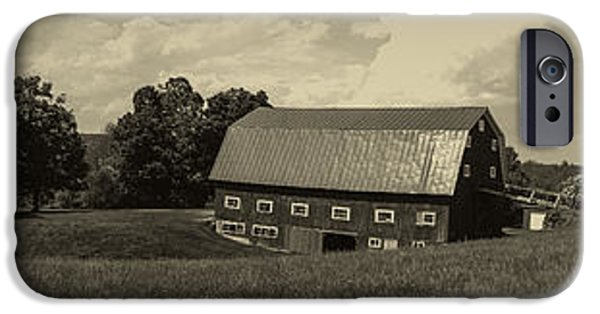 Old Barn iPhone Cases - Classic New England Antique Panoramic iPhone Case by Edward Fielding