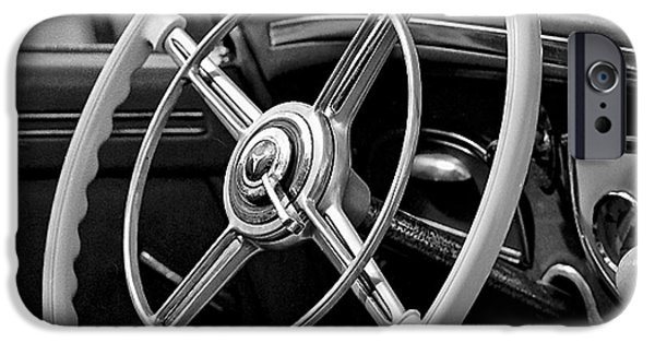 Vintage Car Pyrography iPhone Cases - Classic Vintage Steering wheel. iPhone Case by Cyril Jayant