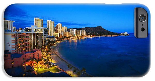 Pleasure iPhone Cases - Classic Waikiki Nightime iPhone Case by Tomas del Amo - Printscapes