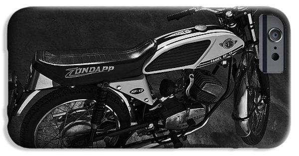 Component iPhone Cases - Classic Zundapp bike XF-17 in the garage. Monochrome iPhone Case by Angelo DeVal