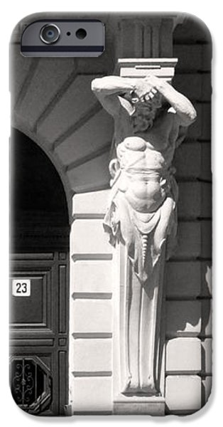 Balcony Sculptures iPhone Cases - Classical Doorway Sculptures Budapest iPhone Case by James Dougherty