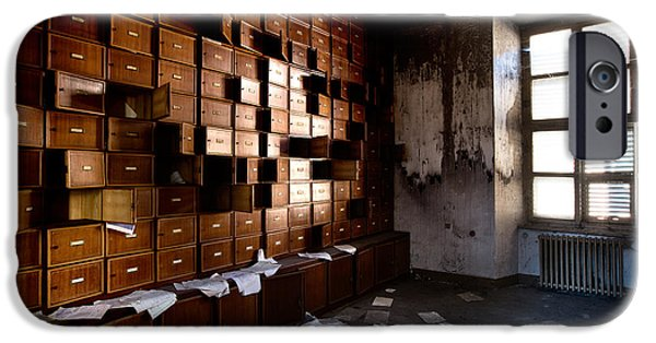 Bookcase iPhone Cases - Classified And Forgotten - Urban Exploration iPhone Case by Dirk Ercken