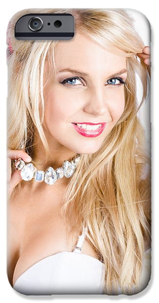 Choker iPhone Cases - Classy woman wearing diamond jewelry chocker iPhone Case by Ryan Jorgensen